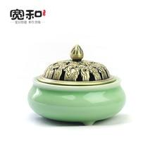 Longquan kiln GE tripod incense burner-free antique bronze ear celadon coil furnace cover aromatherapy  burner