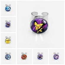 Hot! Retro Mini Simple Anime Pokemon Go Silver Button Buckle Pikachu Glass Ring Pocket Monster Squirtle Eevee Vulpix Gift недорго, оригинальная цена