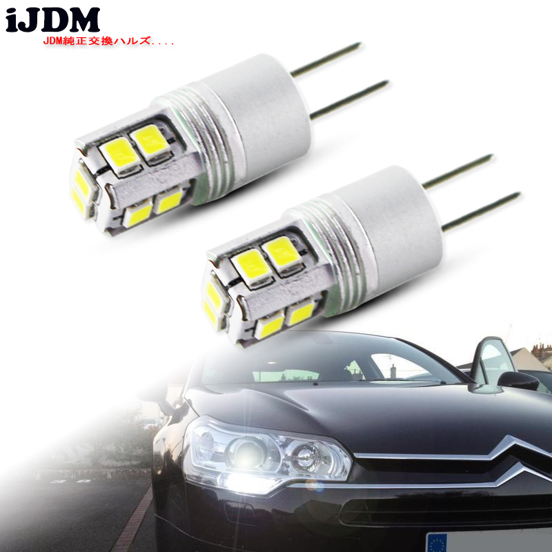 IJDM White 6000K High Power No Error Hp24w G4 12v Led Drl Light For Peugeot 3008 5008 Citroen C5 Accessories Led Drl Day Lights