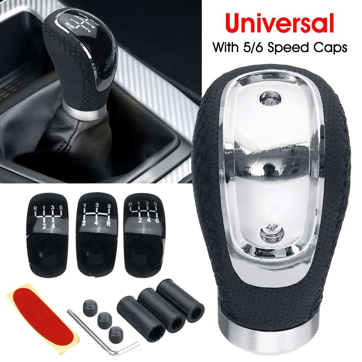 Universal carro de couro do plutônio botão de mudança de engrenagem transmissão manual com botão de engrenagem tampa 5/6 velocidade alavanca shifter