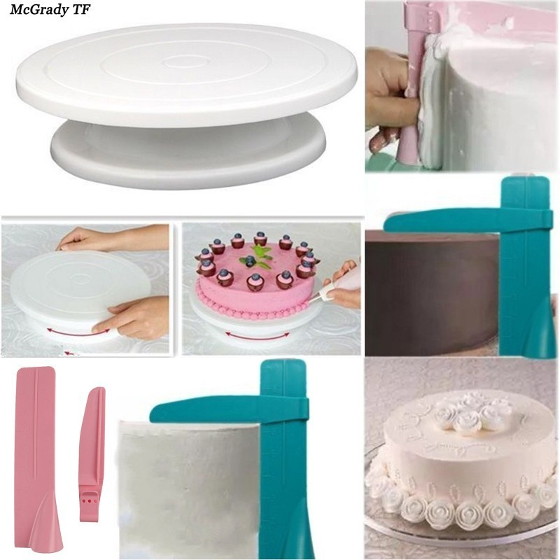 2 teile/satz Küche Kuchen Dekorieren Rotierenden Kuchen Plattenspieler Kuchen Stehen Einstellbare Küche Drehen Zucker Nivellierung Gerät Kuchen Werkzeuge
