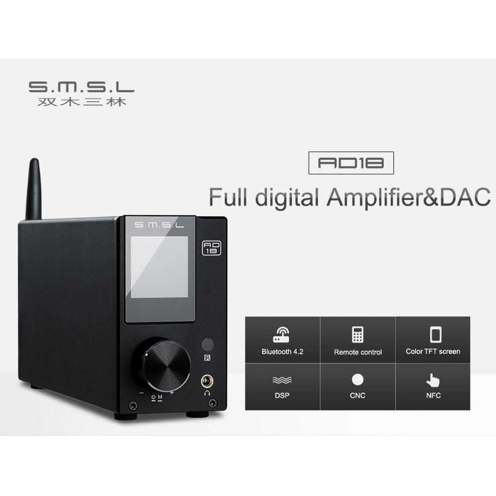 SMSL AD18 Full digital Amplifier DAC 80W 2 DSP HIFI Bluetooth 4 2 NFC Optical Coaxial