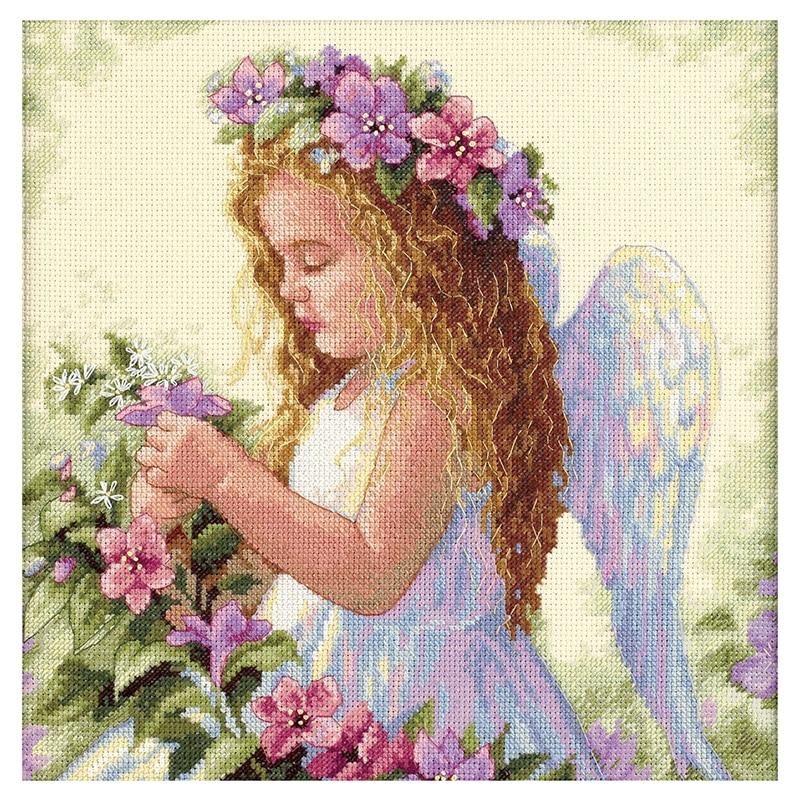 Ремесла цветок крест с ангелами набор стежка 14CT молодых девушек Вышивка Сделай Сам ручная работа рукоделие 35*35 см|cross stitch kits|14ct cross stitch kits|stitching kit cross stitch - AliExpress