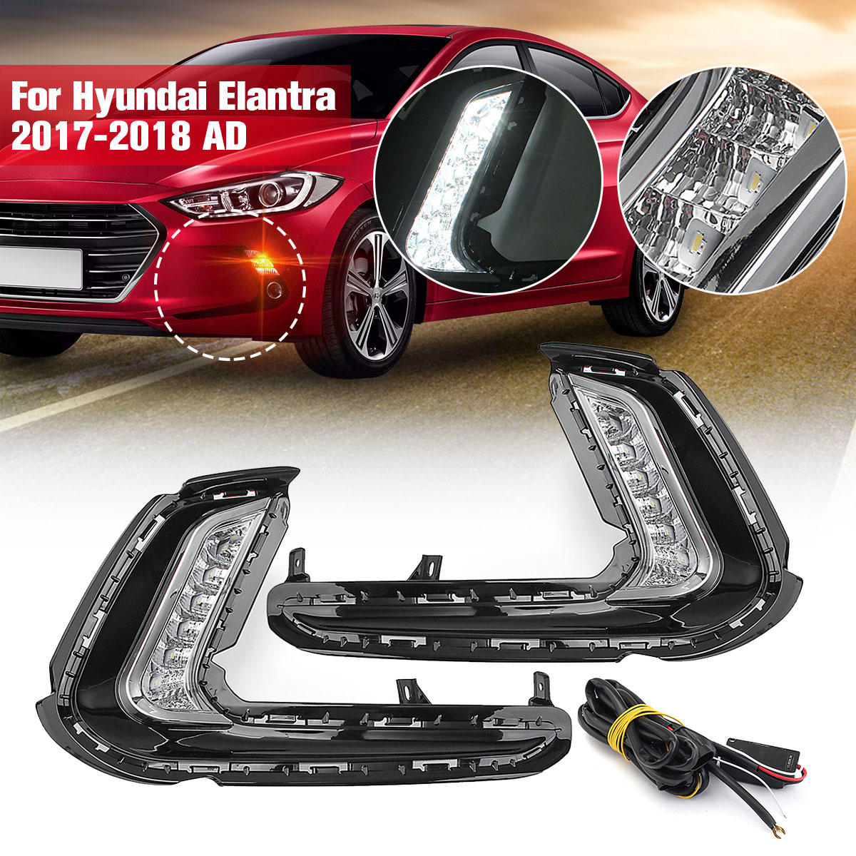 1Pair fog lamp DRL Signal light Daytime Running Lamp LED Fog Turn with yellow signal For Hyundai Elantra 2017-2018 AD 12v car led drl daytime running light fog lamp cover with turn signal light for hyundai elantra 2016 2017