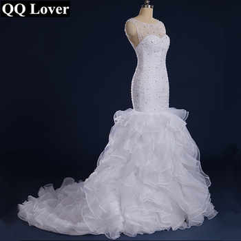 QQ Lover Gorgeous Beaded Mermaid Wedding Dresses 2020 Vestido De Noiva Sereia Sheer Back and Neck Ruffles Bridal Dress Gown - DISCOUNT ITEM  24 OFF Weddings & Events