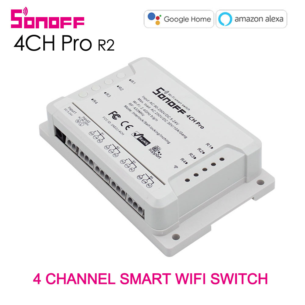 Sonoff 4CH Pro & Pro R2 Wifi Smart Switch Gang 4 Canal 433 mhz RF À Distance Wifi Lumières Commutateur Prend En Charge 4 dispositif Fonctionne avec Alexa