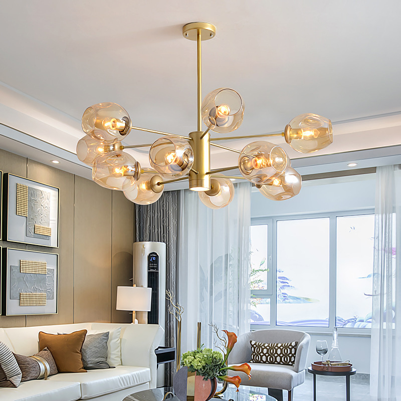 Modern Chandeliers Lighting for Living Room Bedroom Home Hanging Lamps  Indoor Lighting Fixtures Contemporary Design Iron Ball