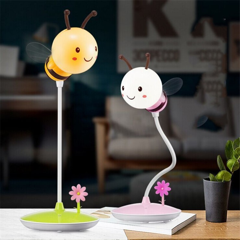 Cartoon Bee Desk Lamp Originality Timing Sleep Cartoon Bedside Lamp LED Night Light Touch Dimming USB Charge LED Eyeshield Lamp