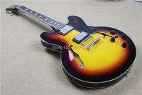 Hot sale semi hollow guitar,vintage sunburst color,chrome hardware,crown headstock,free shipping