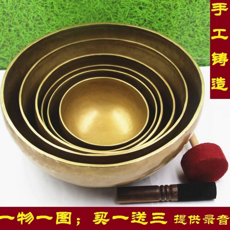 High Quality Nepal Handmade Copper Large Tibetan Singing Bowl Bowls With Leather Sticker And Cushion
