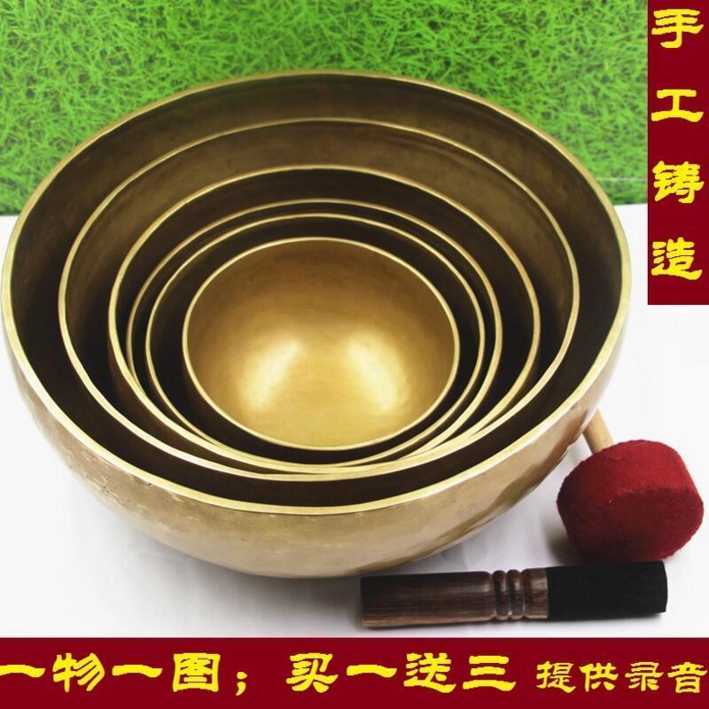 Hohe Qualität Nepal Handgemachte Kupfer Große Tibetische Singen Schüssel Schüsseln Mit Leder Aufkleber Und Kissen-in Schalen & Teller aus Heim und Garten bei  Gruppe 1
