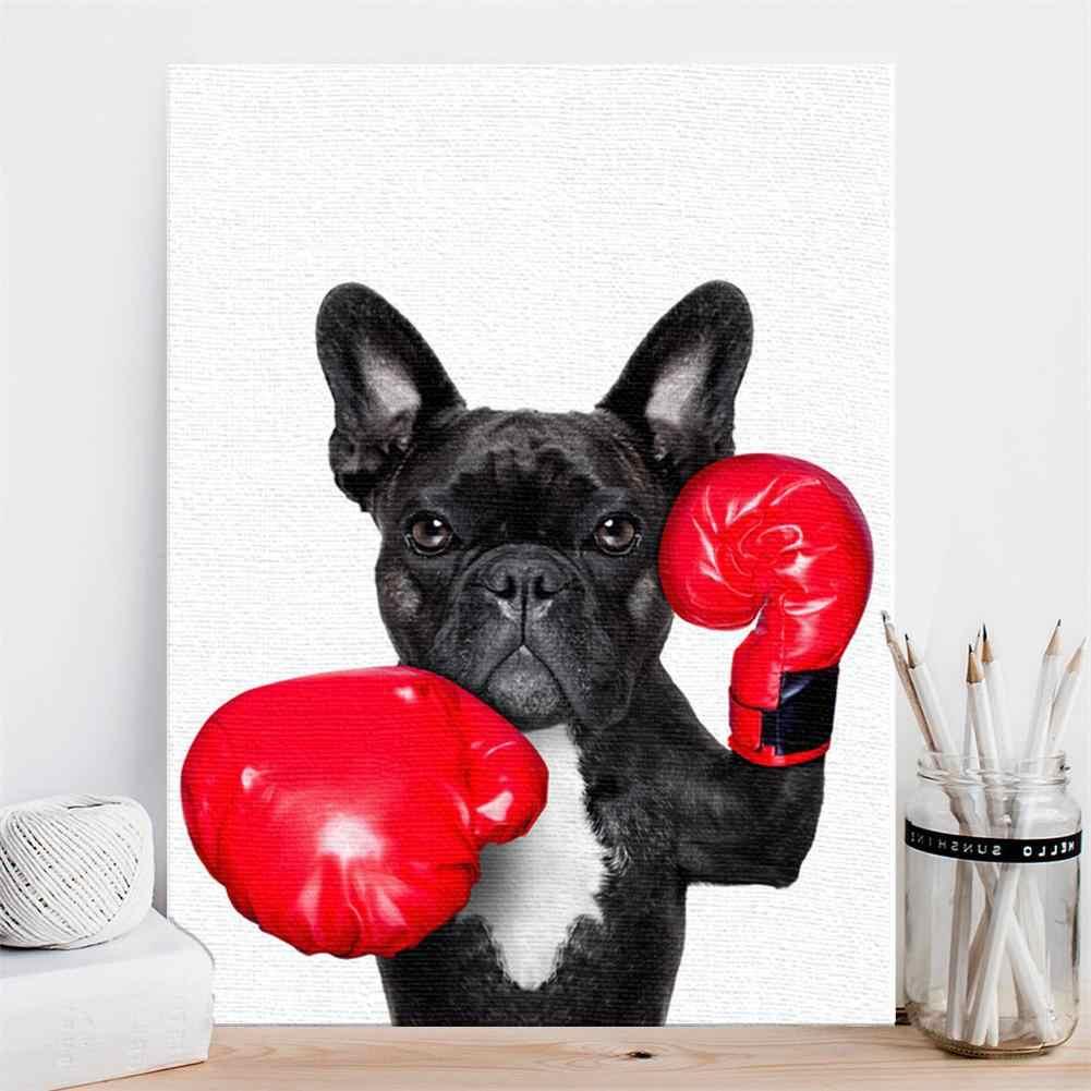 مبتكرة كلب بلدغ غرفة نوم غرفة المعيشة الديكور اللوحة السرير الرسم المنزل الفن الزخرفية اللوحة بدون إطار