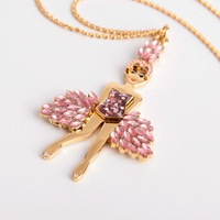 Free shipping copper ballet girl angel necklace