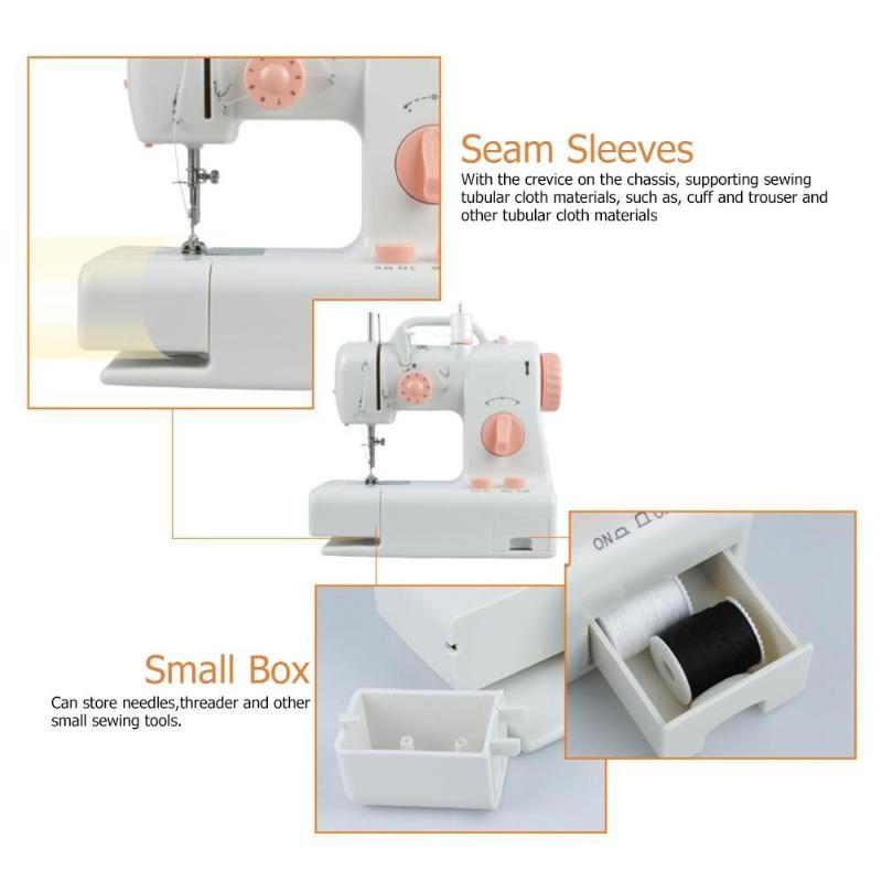 Home Electric Handheld Sewing Machine Dual Speed Adjustment With Light Foot Double Threads Pendal Sewing Machine
