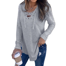 8aeab8b2f56b2 Wipalo Womens Loose Casual Solid Knit Sweaters Pullover Tops V Neck Long  Sleeve Lace Up Criss Cross Front T-Shirt Ladies Tops