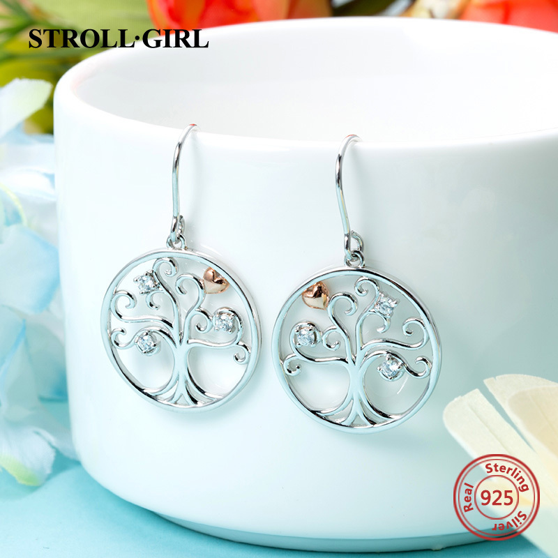 New Arrival 925 Sterling Silver Earrings Luxury Tree Of Life Drop Earrings Authentic Diy Fashion Jewelry Making For Women Gift