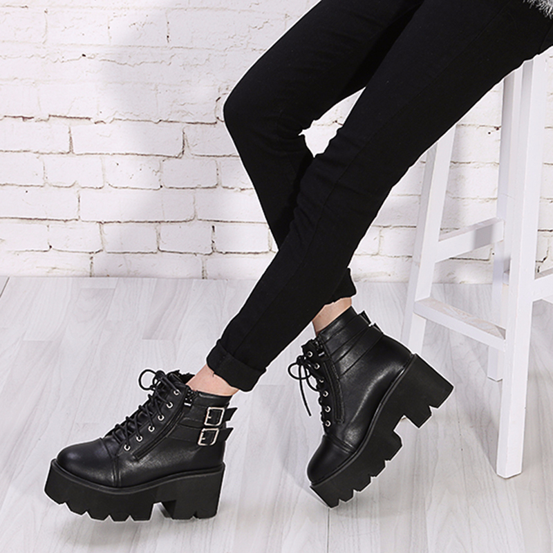 lace up Boots 2019 Fashion Thick Heel Ankle Boots Women High Heels Autumn Winter Woman Shoes punk boots platform shoes YMA413 in Ankle Boots from Shoes