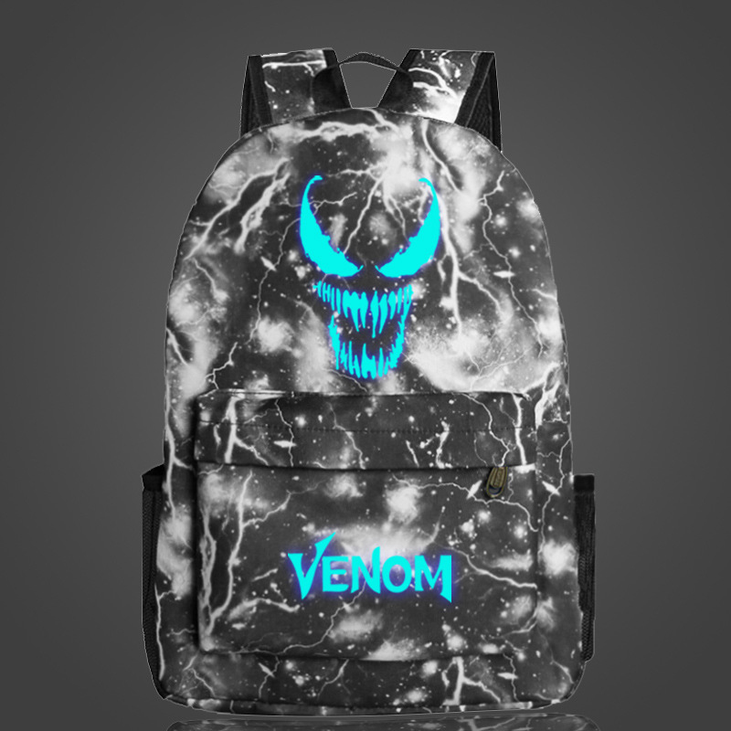 Comics Venom Luminous Backpack Printing Backpack Laptop Travel Book School Bag Nylon Rucksack For Students Glow In The Dark