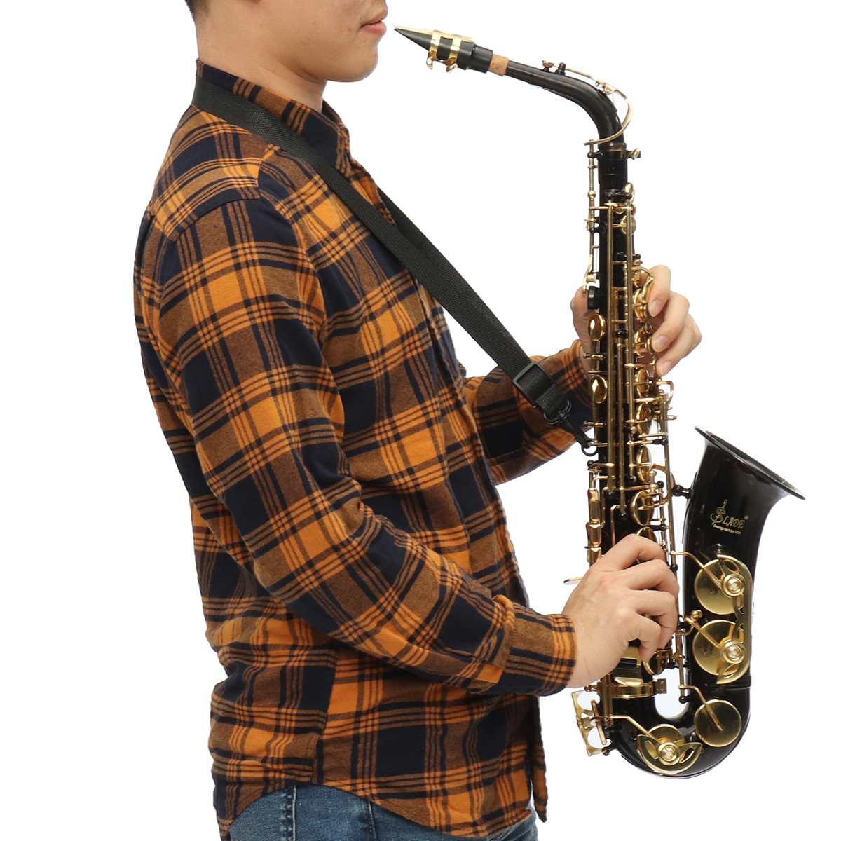 Corps de tube en laiton laqué or Sax E Saxophone Alto plat Abalone shell bouton professionnel pur ton Eb pour le jeu de la saint-valentin
