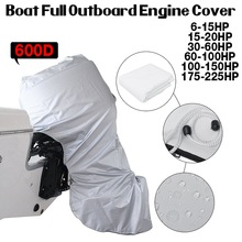 600D Boat Engine Cover White Full Outboard Engine Motor Covers Protector For 6-225HP Waterproof
