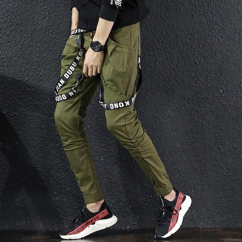 Cargo-Pants Ribbon Hip-Hop-Trousers Multi-Pockets Elastic-Waist Japanese Streetwear Casual