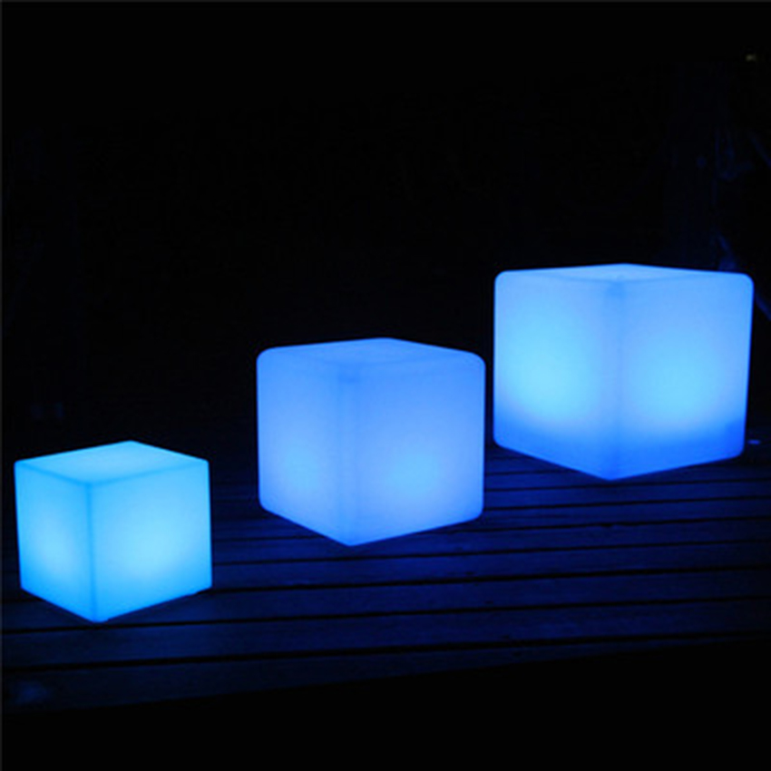 Rgb Led Cube Chair Night Light Outdoor Party Wedding Garden Lighting Led Furniture Bar Cube Indoor Stools Plastic Table Lamps