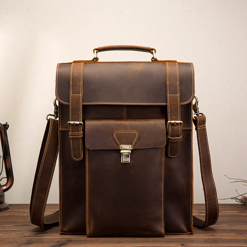 High Quality Crazy Horse Cowhide Knapsack Men Backpack Cross Body Shoulder Computer Bag Male Genuine Leather Rucksack DaypackHigh Quality Crazy Horse Cowhide Knapsack Men Backpack Cross Body Shoulder Computer Bag Male Genuine Leather Rucksack Daypack