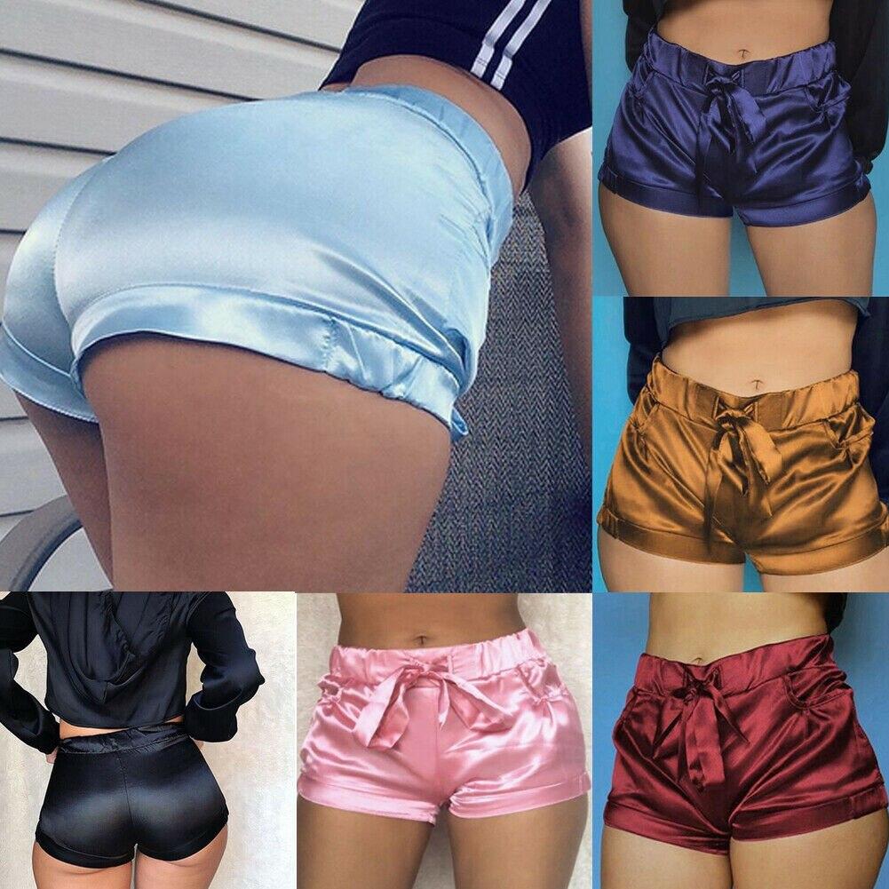 Hot  Women Fashion Pocket Loose Hot Shorts Lady Summer Casual Bowknot  Elastic Waist Shorts