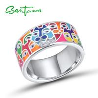 SANTUZZA Silver Rings For Women 925 Sterling Silver White CZ Handmade Enamel Lovely Cat Unique TrendyRing Party Fashion Jewelry