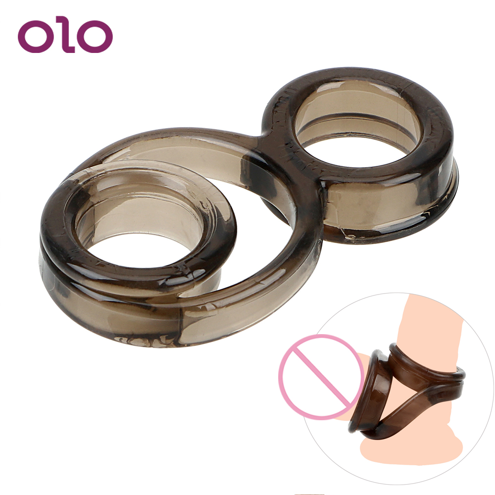 OLO Cock Rings Delay Ejaculation Elastic Chastity Device Lock Scrotum Binding Penis Rings Sex Toys For Men Adult Products