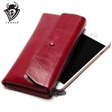 Bolso de teléfono para mujer, Cartera de cuero genuino con cera de aceite suave, bolso de mano largo de diseñador para hombre, billetera de marca de lujo, monedero con cremallera