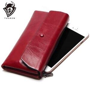 Image 1 - Bolso de teléfono para mujer, Cartera de cuero genuino con cera de aceite suave, bolso de mano largo de diseñador para hombre, billetera de marca de lujo, monedero con cremallera