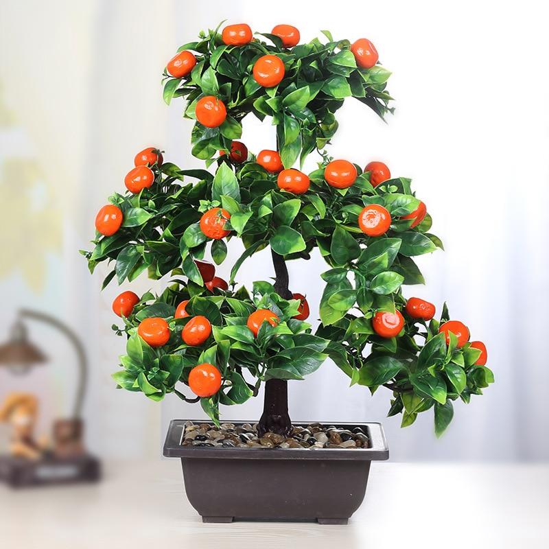 Culture fausses fleurs En Plastique Fruits Arbre Un Salon De Bureau Bonsaï Simulation Grenade Mandarine Pêche Jujube Arbre