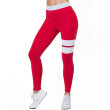 99ac9cff661f9 Women High Waist Fitness Leggings Workout Trousers Stretch Sportswear Pants  Red White Patchwork Skinny Leggings Drop
