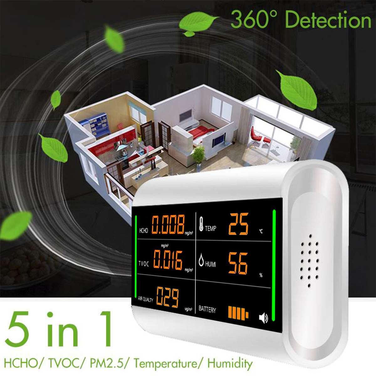 Moniteur de qualité de l'air à la maison détecteur de gaz testeur de formaldéhyde écran numérique USB covt HCHO benzène/poussière/température/humidité compteur