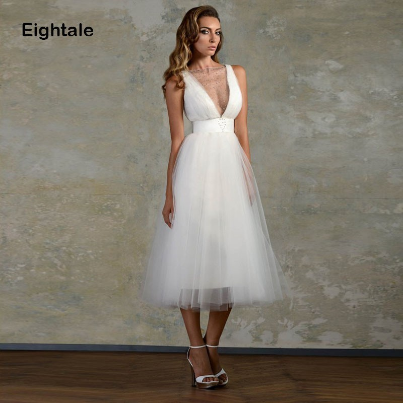 Eightale Short Wedding Dress O Neck Beaded Tulle A Line Princess Bride Dress Beach Simple Tea Length Wedding Gowns Free Shipping