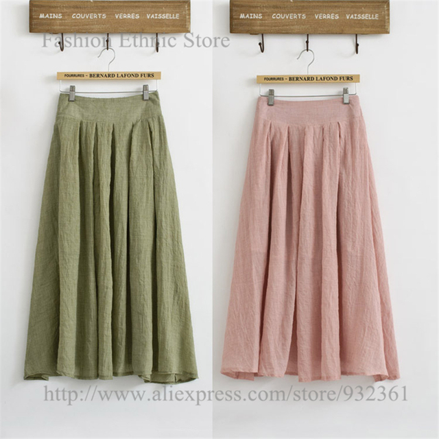04d7d5861cb932 US $22.99  Women's Vintage Pure Color Cotton Linen Pleated Long Skirt with  Lining Elastic Waist Casual Skirts Womens faldas jupe longue-in Skirts from  ...