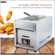 XEOLEO Deep fryer Gas fryer Commercial Stainless steel fryer 6L Single Tank Single Basket LPG Gas Frying Machine Fried Chicken