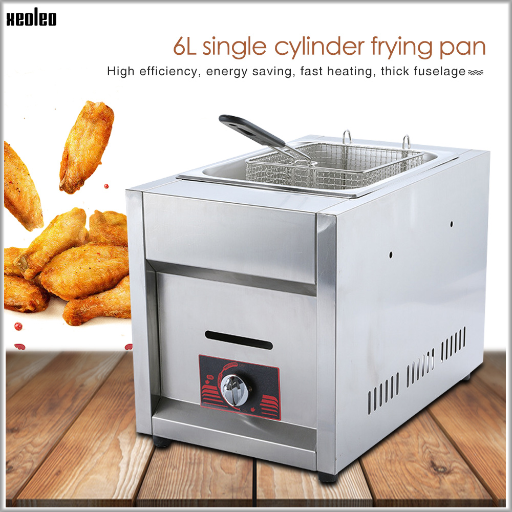 XEOLEO Stainless Steel Gas Fryer Multi-function Commercial Fryer 6L Single Tank Single Basket Gas Frying Machine Fried Chicken