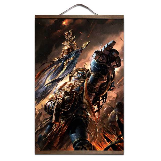 Warhammers 40K poster for HD canvas painting posters interior decoration painting with solid wood hanging scroll Sale-Sell
