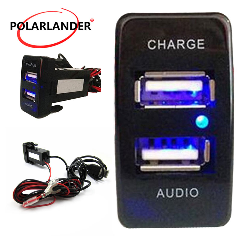 Dual USB Socket Port Auto Dashboard Charger Audio Input USB Charger Fit Mazda