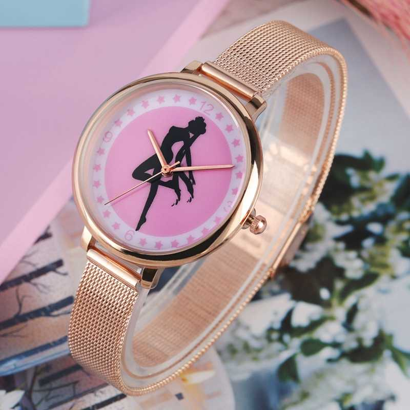 Popular Japan Anime Sailor Moon Lady Dress Watch  Pink Five-pointed Stars Dial Slim Mesh Band Women Watches Gifts For Women Girl