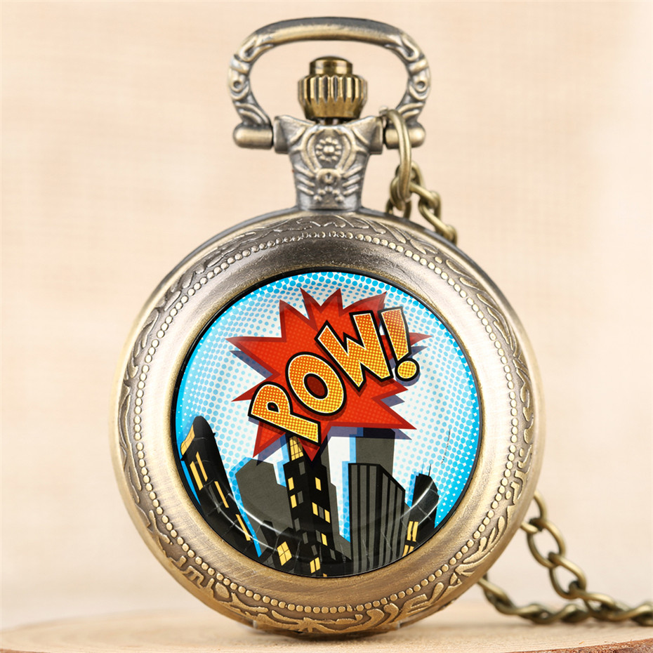 Vintage Classic Superhero Comics 8 Guest Party Theme Quartz Pocket Watch Steampunk POW Men Women Souvenir Necklace Pendant Hour