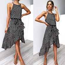 купить Polka-Dot Tie Waist Boho Dress Women Irregular Beach Midi Dress A-Line Sleeveless Halter Neck Sexy Sundress по цене 856.48 рублей