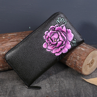 Women Natural Skin Purse Money Bag ID/Credit Card Holder Peony Flower Casual Embossed Genuine Leather Handy Clutch Long Wallet
