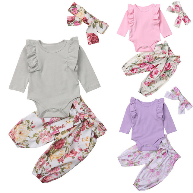 7f0831acd35f 2018 Newborn Baby Girl Ruffles Romper Tops Jumpsuit Floral Pants Headband  Outfit Clothes Set Grey Pink Purple