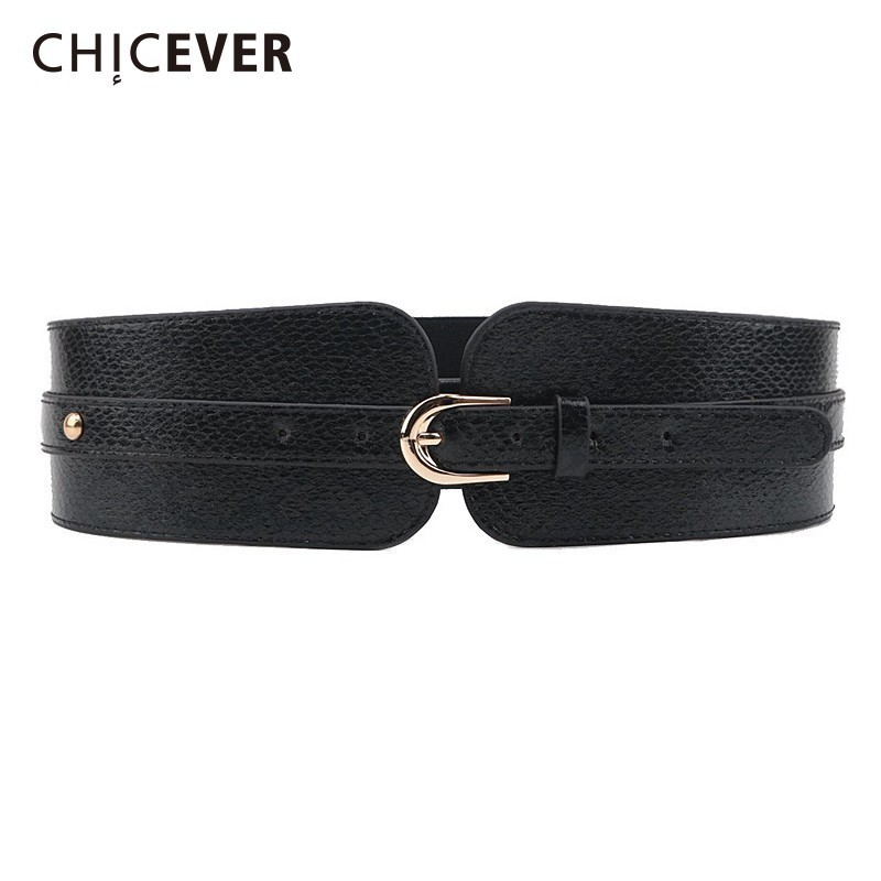 CHICEVER 2019 Fashion New Geometric Hit Color Women's Belt Casual Adjustable Waist Elastic Wide Belts Accessories New