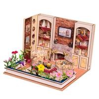 1/24 Miniature Dollhouse Living Room DIY Handmade Wooden House with LED Lamp Educational Toys for Children Toddler Kids