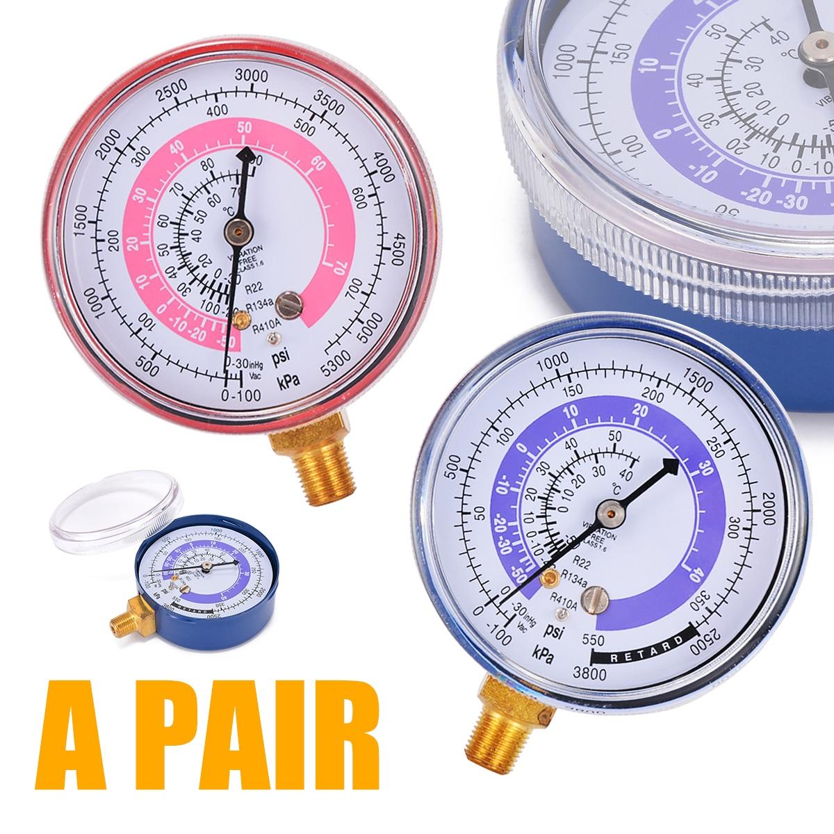 1 Pair Air Conditioner Pressure Gauge R134A R22 R410A Air Conditioner Refrigerant High Low Pressure Gauge Measuring Tool