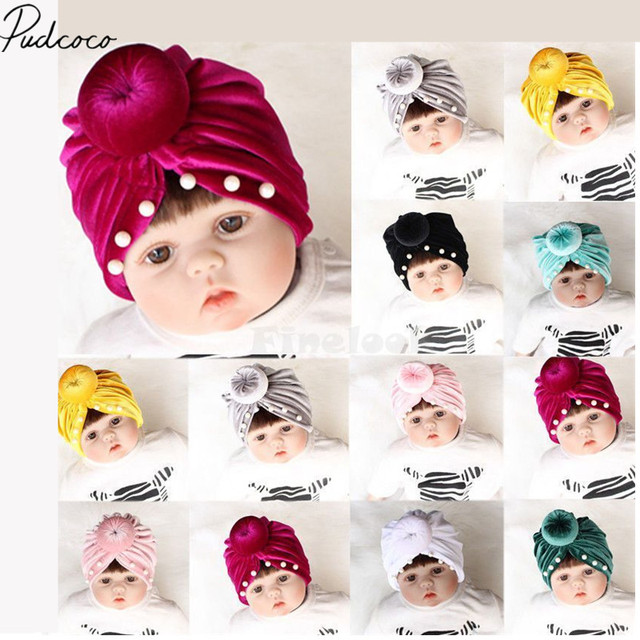 a2c48d6d9 US $1.05 6% OFF|2019 Brand New Hot Newborn Toddler Baby Girls Velvet  Beadings Turban Knot Head Wrap Beanie Hat Solid Winter Cap Charm Baby  Gifts-in ...